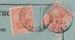 Deutsches Reich Karte Mit Tagesstempel Oberkirchen Westf. 1921 KOS Stempel - Allemagne