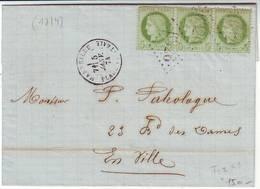 5 C CERES N° 53 Bande De Trois Obl Marseille Sur Lettre Locale 1874 - Poststempel (Briefe)