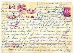 """DATEE DE LA MOSELLE CPFM 1940 """" UNE PENSEE DU FRONT """" TIMBRE FM SIMULE PETIT DFT EN A DROITE VISIBLE AU SCAN - Storia Postale"""