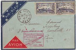 AIR BLEU , Normandie Obl LILLE GARE Sur Lettre AVION Pour PARIS 1935 - Marcophilie (Lettres)
