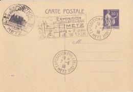 Entier C2a (55c Paix Violet, Date 813) Obl. Metz Expo 7-6-38 + 2 Cachets Expo Metz 4-7 Juin 1938 - Enteros Postales