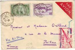 AIR BLEU , BLERIOT Et Delessert Obl PARIS AFFRANCHISSEMENT Sur Lettre Pour POITIERS 1935 - Poststempel (Briefe)