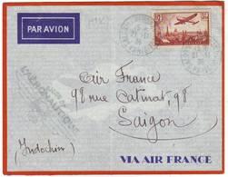 PA N° 13 Obl SALON DE L' AERONAUTIQUE PARIS 1936 Sur Lettre AVION Pour SAIGON - Marcophilie (Lettres)