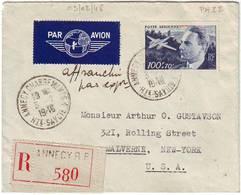PA N° 22 Dagnaux SEUL Obl ANNECY Sur Lettre Recommandee AVION Pour Les USA - Marcophilie (Lettres)