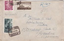 ESPAÑA - CIRCULATED ENVELOPE FROM HUESCA TO COLONIA DURAN, VIA VERA, ROMANG - SANTA FE, ARGENTINA IN 1953. -LILHU - 1931-Aujourd'hui: II. République - ....Juan Carlos I
