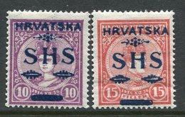 YUGOSLAVIA 1918 SHS Hrvatska Overprint On Hungary  Coronation Set Of 2 LHM / *.   Michel 64-65 - Unused Stamps
