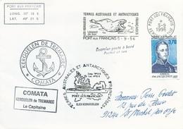 """TAAF-Port Aux Français-Kerguelen: Lettre """"Kerguelen De Trémarec"""" Avec Timbre N°207 Jacquinot + OMEC SECAP Du 05/09/1996 - Storia Postale"""