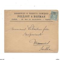 Lettre De PARIS 1898 Timbre Type Sage Perforé P.H Droguerie PELLIOT HOFMAN - France
