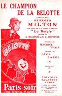 PARTITION LE CHAMPION DE LA BELOTE - MILTON WILLEMETZ CARPENTIER - 1924 - EXC ETAT COMME NEUF - - Music & Instruments