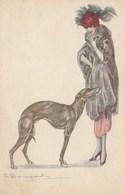 CPA Femme  Women Lady Girl Mode Chien Dog Lévrier Whippet  Illustrateur S. BOMPARD N° 624-3  (2 Scans) - Bompard, S.