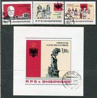 ALBANIA 1982 Independence Anniversary Set + Block Used.  Michel 2145-47, Block 76 - Albanie