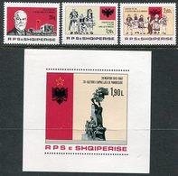 ALBANIA 1982 Independence Anniversary Set + Block MNH / **.  Michel 2145-47, Block 76 - Albania