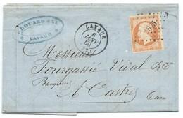 N°16 NAPOLEON ORANGE SUR LETTRE / LAVAUR TARN POUR CASTRES / 1860 - Marcophilie (Lettres)