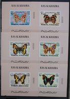 Butterflies Papillons Schmetterlinge 6 X Ras Al Khaima Sheets / ** MNH Imperf. - Schmetterlinge