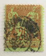Timbre France YT 96 1884-90 SAGE (type II) 20c Brique S Vert CàD Imprimés JOURNAUX (côte 5 Euros) – 68e - 1876-1898 Sage (Tipo II)