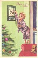 """Cartolina """"Buon Natale"""", Ragazzina Aspetta Con Ansia Il Natale, Illustrazione, C. Parisi Illustratore - Natale"""
