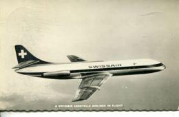 N°737 T -cpsm A Swissair Caravelle Airliner In Flight - 1946-....: Ere Moderne