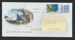 PAP Lettre France 20 Gr Avec Illustration Cité Du Volcan 974 La Réunion Et Ajout Timbre Cap Houssaye - Réunion (1852-1975)