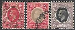 East Africa & Uganda  1912  Sc#42, 46-7  3 Diff  GEO V   Used To The 50c  2016 Scott Value $3.90 - Protectorados De África Oriental Y Uganda