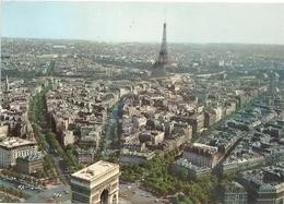 CPM. PARIS . VUE AERIENNE . L'ARC DE TRIOMPHE ET LA TOUR EIFFEL  . AFFR LE 16-05-1978 . 2 SCANES - Eiffeltoren