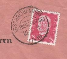 Deutsches Reich Brief Mit Tagesstempel SCHREIBENDORF / (RIESENGEBIRGE) 1931  KOS Stempel Werbung - Storia Postale