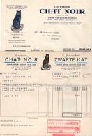 2 FACTURES - CAFETERIE CHAT NOIR - KOFFIEBRANDERIJ ZWARTE KAT - CHIMAY - 1949 - 1957. - Alimentaire