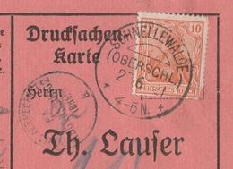 Deutsches Reich Karte Mit Tagesstempel SCHNELLEWALDE / (OBERSCHL.) / * * 1921 KOS Stempel Portoverrechnung Regensburg - Cartas
