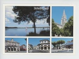 Soustons Multivues : Lac, église,  Mairie, Cinéma, Place Du Marché (n°370) - Soustons