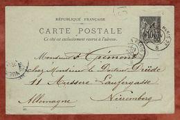 P 12 II Allegorie, Per Bahnpost Le Havre - Paris, Nach Nuernberg 1900 (88489) - Entiers Postaux