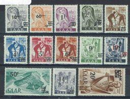 Sarre - 1947 - Série Surchargée 216/228 Dont 227 A - Neufs Sans Charnières XX - ( 4 Timbres Légères Adhérences) - TB - - 1947-56 Protectorate
