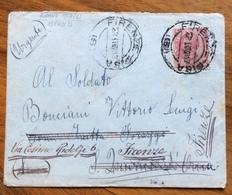 AMBULANTE FIRENZE - PISA  (B) 23 LUG 17   SU  LEONI   BUSTA PER BONCIANI VITTORIO LUIG S.QUIRICO D'ORCIA - RISPEDIZIONI - 1900-44 Vittorio Emanuele III