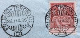 AMBULANTE FOLIGNO - TERONTOLA  (C) 24 FEB 26  SU GIUBILEO 60 C.   BUSTA  Per GUGLIELMO GIACOMINI ORVIETO - 1900-44 Vittorio Emanuele III
