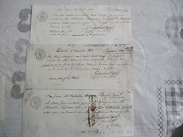 3 DOCUMENTS 1811,1812,1813 FILIGRANE AIGLE CACHETS 6000 A 7000 3 FRANCS 50 CEN.,7000 A 8000 4 FRANCS,9000 A 10000 5 FRAN - Revenue Stamps