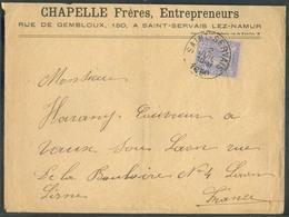 N°48 - 25 Centimes Bleu Sur Rose, Obl. Sc SAINT-SERVAIS Sur Lettre Du 2 Juillet 1890 Vers La France (exp. Chapelle Frère - 1884-1891 Leopoldo II