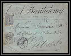 3586 Recommandé Lettre Entete Barthelemy Bouches Du Rhone N°130 + 132 Semeuse Marseille A 1904 Pour Paris - Storia Postale