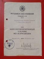 Dokument WW2 Verleihungsurkunde Kriegsverdienstkreuz 2. Klasse Mit Schwertern Obergefreiter Gerneralmajor 1945 - Germania