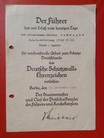 Dokument WW2 Verleihungsurkunde Deutsche Schutzwall Ehrenzeichen Berlin 1940 R.A.D. Abteilung Staatsminister - Germania