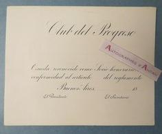 Buenos Aires - Argentine - Club De Progreso - Carton Vierge D'invitation - Argentina - Documentos Históricos