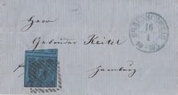 Braunschweig Brief EF Minr.7 Blauer K2 Braunschweig 16.1. Gel. Nach Hamburg - Braunschweig