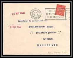 5615 Lettre Cover Bouches Du Rhone N°199 Semeuse Marseille Flier Secap Foire De Marseille 15-30 Septembre 1928 - Marcophilie (Lettres)