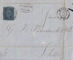 Preussen Brief EF Minr.4 K2 Halle 6.10.(1854) Nr.-St. 572 Gel. Nach Roter L2 Schleitz 7.10.54 - Prusse