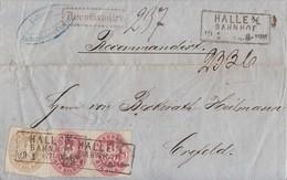 Preussen Reco-Brief Mif Minr.2x 16,18 R3 Halle Bahnhof 29.1.67 Gel. Nach Crefeld - Preussen
