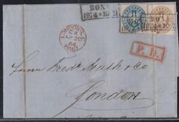 Preussen Brief Mif Minr.17,18 R2 Bonn 19.4. Gel. Nach England Roter K1 London  Und Roter P.D. Stempel - Preussen
