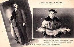 LES AS DE LA PÊCHE : M. CHAMBAZ à BRON : BROCHET 20 LIVRES / M.E.A. à TROYES : BROCHET... - LE FIL DIAMANT ~ 1930 (ad533 - Bron