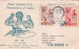 """ECUADOR - """"PRIMER CENTENARIO DE LA MANUMISION EN EL ECUADOR"""" 1952 FDC. CIRCULATED ENVELOPE VIA PANAGRA -LILHU - Equateur"""