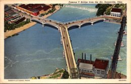 Ohio Zanesville Famous Y Bridge From The Air 1945 Curteich - Zanesville