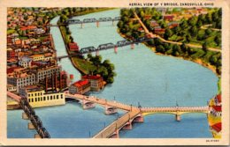 Ohio Zanesville Famous Y Bridge Aerial View 1960 Curteich - Zanesville
