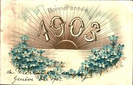 24 Année Date Millesime - 1903 - Soleil Myosotis Gaufré - Nieuwjaar