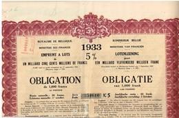 Titre Ancien -Royaume De Belgique - Emprunt à Lots De 1 Milliard Cinq Cents Millions De Francs - 1933 5%- Titre Original - Actions & Titres