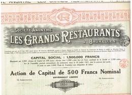 Titre Ancien - Société Anonyme Les Grands Restaurants à Bruxelles -Titre De 1921 - Tourisme